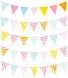 Set Of 5 Seamless Buntings Stripes Pastel/Blue