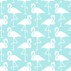 Seamless Pattern Flamingos White Waves