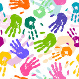 Seamless Vector Pattern with Colorful Hand Prints