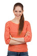 Cheerful girl in a striped T-shirt