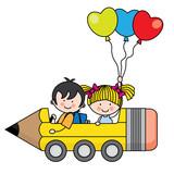 kids riding a pencil car