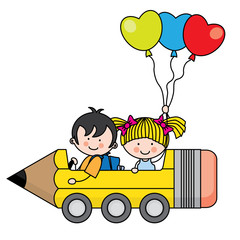 kids riding a pencil car