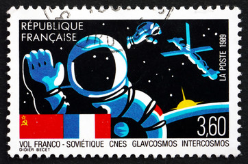 Postage stamp France 1989 French-Soviet Joint Space Flight