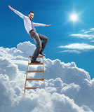 businessman standing at the ladder high in the sky balancing