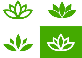 Green lotus set (vector illustration)