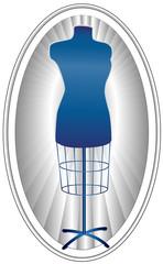 Tailor's Model, female mannequin dress form, blue on oval frame