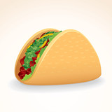 Fast Food Vector Icon. Taco with Beef