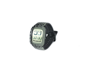 Reloj negro en fondo blanco