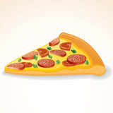 Fast Food Vector Icon. Slice of Pepperoni Pizza