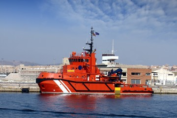 Rescue tug tied up in the port of Alicante; Spain.