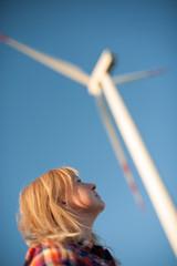 Woman and windturbine