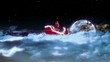Santa and Sleigh zoom with Moon.