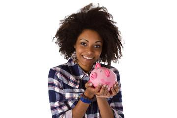 Afroamerikanerin mit Sparschwein