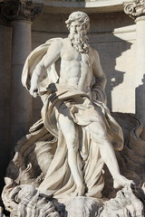 Oceanus in the Trevi Fountain in Rome, Italy
