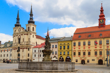 Jihlava (Iglau) Main (Masaryk) Square with Saint Ignatius Church