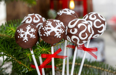 Chocolate cake pops. Copy space
