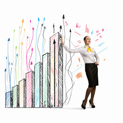 Businesswoman leaning on bars