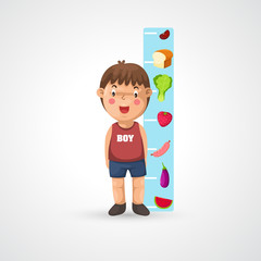 illustration of isolated boy growing tall and measuring vector