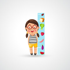 illustration of isolated girl growing tall and measuring vector