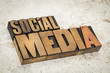 social media text in wood type