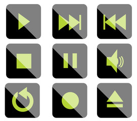 Green black icons for media control