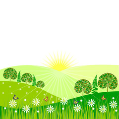 Vector morning landscape with trees, flowers and butterflies