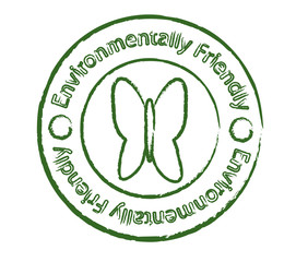Environmentally friendly product stamp with butterfly