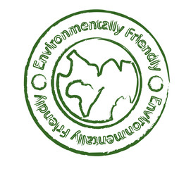 Environmentally friendly product stamp with earth