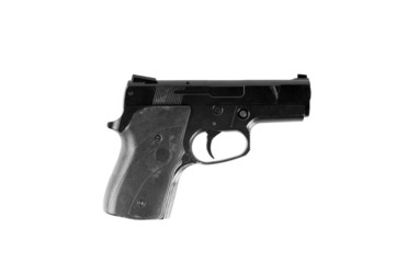 Handgun isolated on white background.