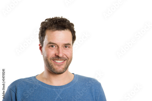 Mature Caucasian man in casual clothing, isolated on white, happ
