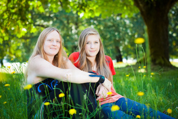 Mother and daughter in summer nature
