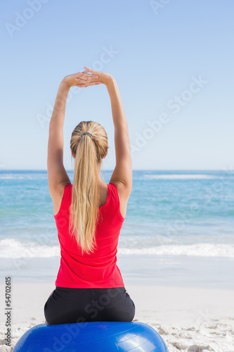 Fit blonde sitting on exercise ball looking at waves