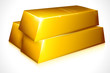 vector illustration of gold brick against white background