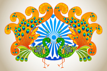 vector illustration of Indian flag colored decorated peacock
