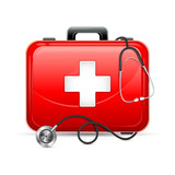 vector illustration of first aid box with stethoscope