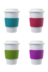 Coffee cup with colorful silicone collar