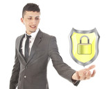 young man holding shiny yellow shield with lock isolated