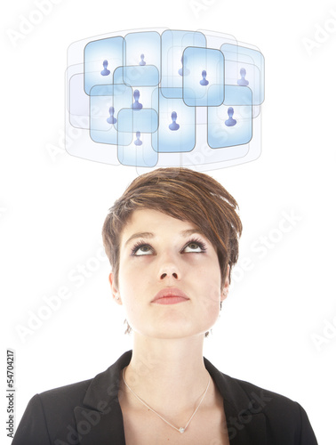 Young woman looking at her virtual friends isolated on white