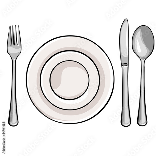 vector cutlery: fork, plate, knife, spoon