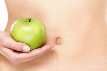 Apple fruits and stomach health concept