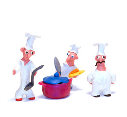 Cheerful chef made of clay
