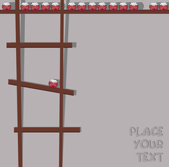 decorative background with ladder and fruit jam