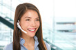 Headset customer service woman at call center