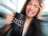 Stress - business person stressed at office