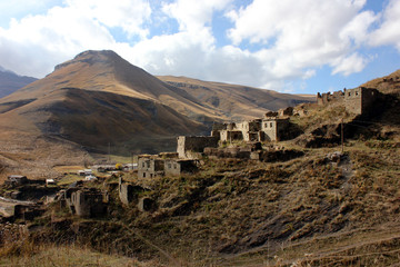 Old ruinous village in high Dagestan mountains, Russia