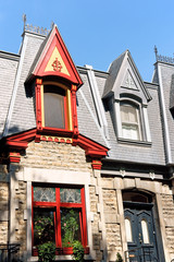 Colorful victorian houses in Montreal, Canada