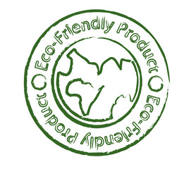 Eco-friendly product stamp with earth
