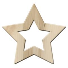 Ring aus Ahornholz in Sternform – freigestellt