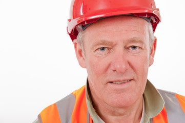 Construction Worker wearing Red Safety Helmet