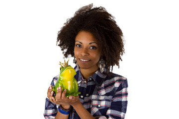Afroamerikanerin mit Froschkoenig